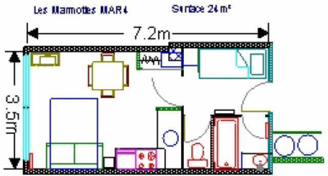 Location au ski Studio 4 personnes (MAR4) - Residence Les Marmottes - Gourette - Plan