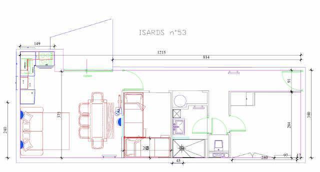 Rent in ski resort 3 room apartment cabin 8 people (ISA53) - Résidence Isards - Gourette - Plan