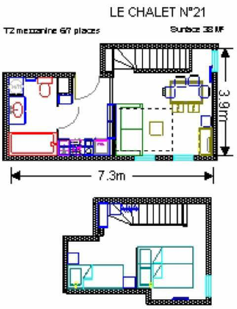 Location au ski Studio mezzanine 7 personnes (21) - Résidence le Chalet - Gourette - Plan