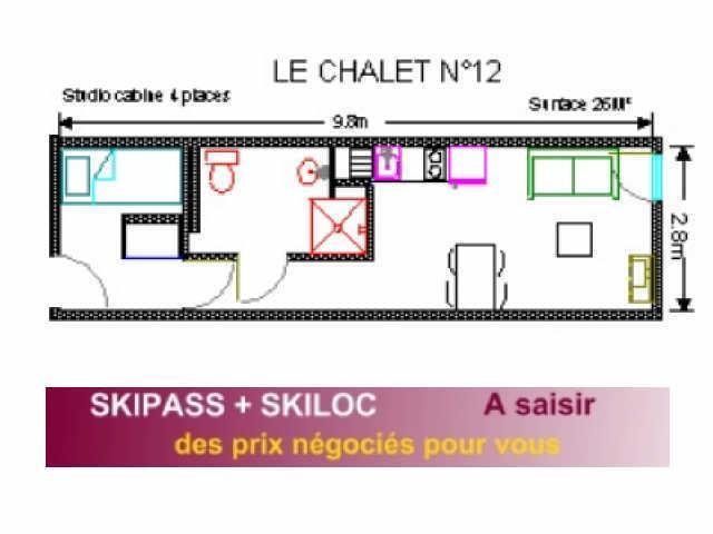 Location au ski Studio 4 personnes (12) - Résidence le Chalet - Gourette