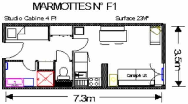 Location au ski Studio 4 personnes (F1) - Residence Les Marmottes - Gourette - Plan