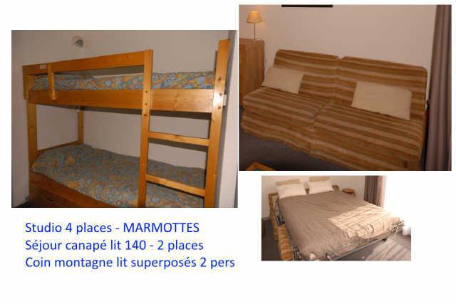 Rent in ski resort Studio 4 people (C1) - Résidence les Marmottes - Gourette - Apartment