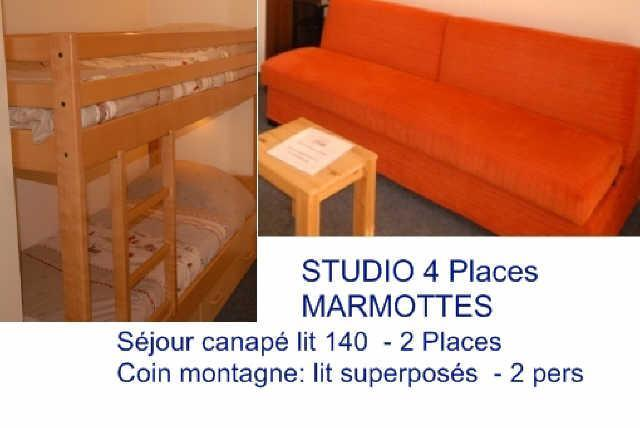 Rent in ski resort Studio 4 people (MAR4) - Résidence les Marmottes - Gourette - Apartment