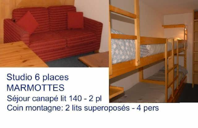 Rent in ski resort Studio 6 people (A3) - Résidence les Marmottes - Gourette - Bed