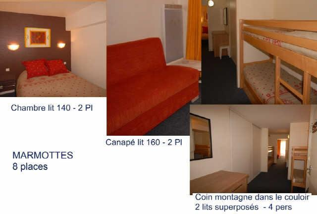 Rent in ski resort Studio cabin 8 people (MAR8) - Résidence les Marmottes - Gourette - Bed