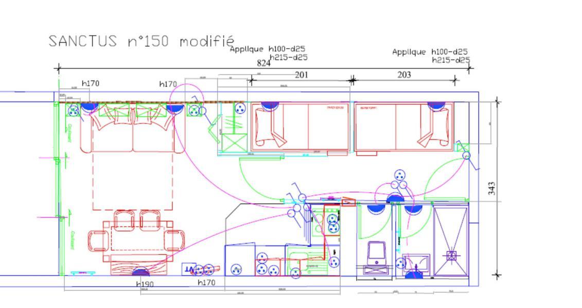 Rent in ski resort Studio sleeping corner 6 people (SAN150) - Résidence Sanctus - Gourette - Plan