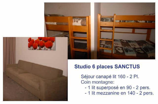 Location au ski Studio 6 personnes (SAN49) - Residence Sanctus - Gourette - Lits superposés