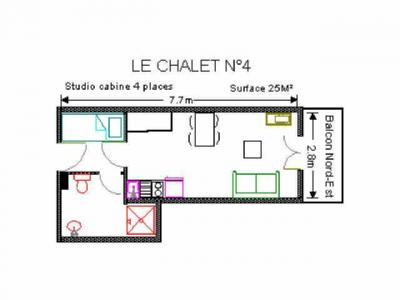 Location au ski Studio 4 personnes (4) - Residence Le Chalet - Gourette