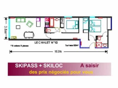 Location au ski Appartement 3 pièces 8 personnes (10) - Residence Le Chalet - Gourette - Plan