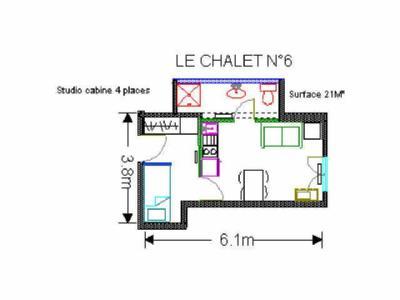 Location au ski Studio 4 personnes (6) - Residence Le Chalet - Gourette - Plan