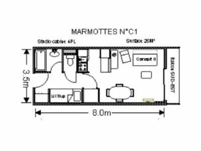 Location au ski Studio 4 personnes (C1) - Residence Les Marmottes - Gourette - Plan