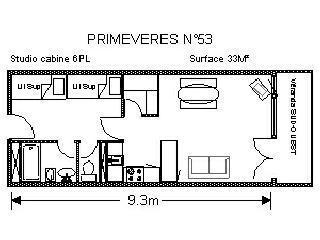 Location au ski Studio 6 personnes (PRI53) - Residence Primeveres - Gourette - Plan