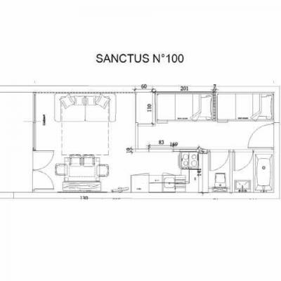 Location au ski Studio 6 personnes (SAN100) - Residence Sanctus - Gourette - Plan