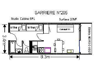 Location au ski Studio 6 personnes (SAR205) - Residence Sarriere - Gourette - Plan