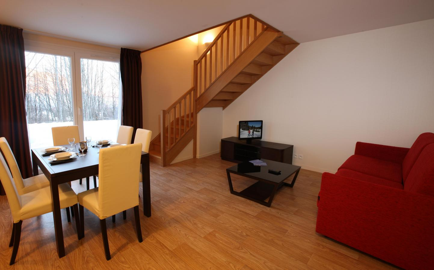 Rent in ski resort Residence Les Balcons D'aix - La Féclaz - Living room