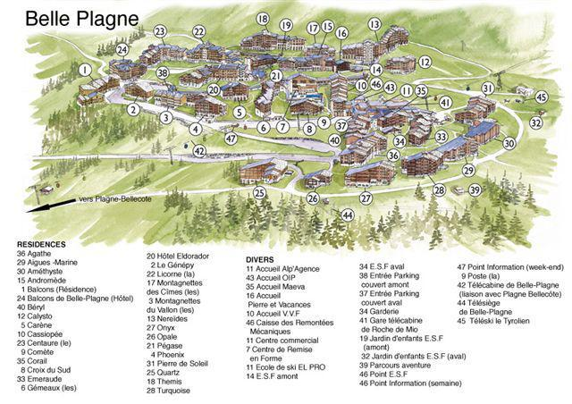 Аренда на лыжном курорте La Résidence Phoenix - La Plagne - план