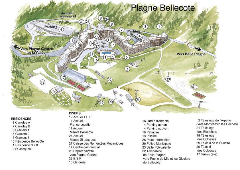 Аренда на лыжном курорте Résidence Carroley B - La Plagne - план