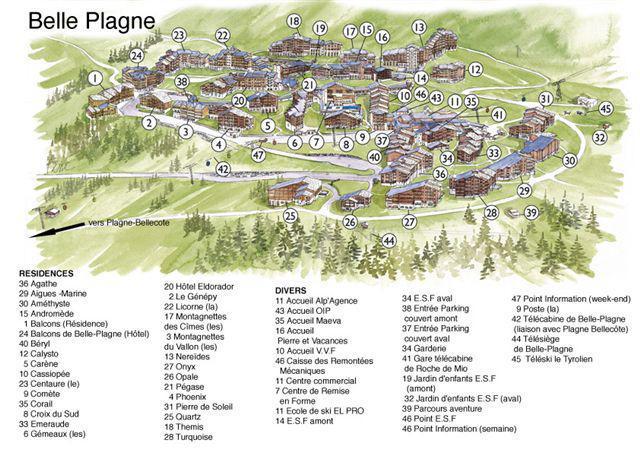 Location au ski Résidence Turquoise - La Plagne - Plan