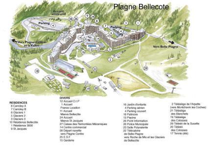 Аренда на лыжном курорте La Résidence les Glaciers - La Plagne - план