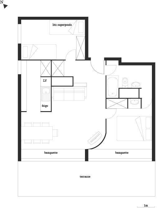 Location au ski Appartement 3 pièces 7 personnes (669) - Résidence Cascade - Les Arcs - Plan
