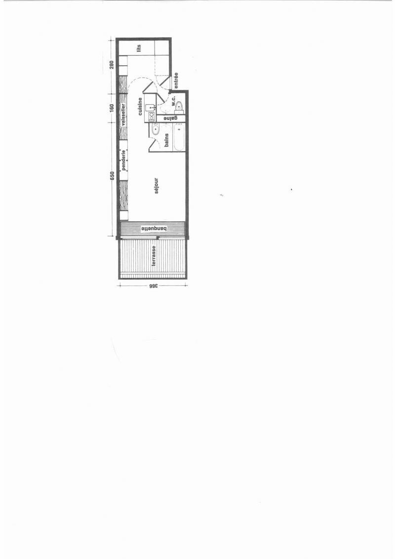 Wynajem na narty Studio z alkową 5 osób (13R) - Résidence Haut de l'Adret - Les Arcs - Plan