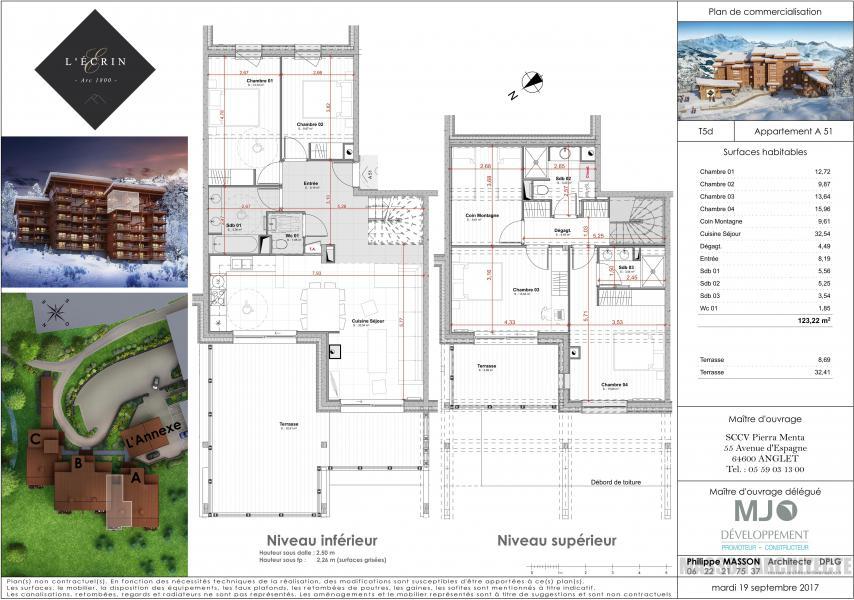 Location au ski Appartement duplex 6 pièces 12 personnes (A51) - Résidence L'Ecrin - Les Arcs - Plan