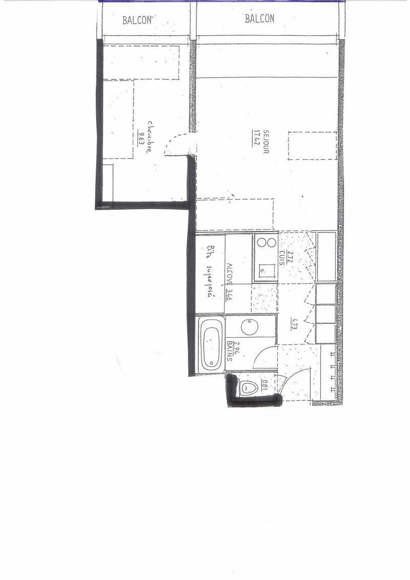 Location au ski Appartement 2 pièces coin montagne 6 personnes (3193) - Résidence Rouelles - Les Arcs - Plan