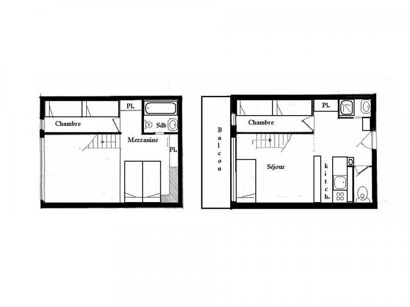 Location au ski Appartement 3 pièces mezzanine 8 personnes (201) - Résidence Tournavelles - Les Arcs - Plan