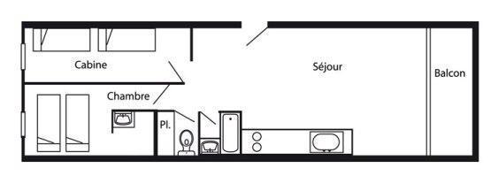 Wynajem na narty Apartament 3 pokojowy 7 osób (775R) - Résidence Cachette - Les Arcs - Plan