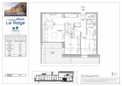 Rent in ski resort 3 room apartment 6 people (102) - Résidence le Ridge - Les Arcs - Plan