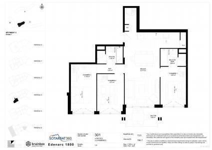 Rent in ski resort 4 room apartment 6 people (301) - Résidence les Monarques - Les Arcs - Plan