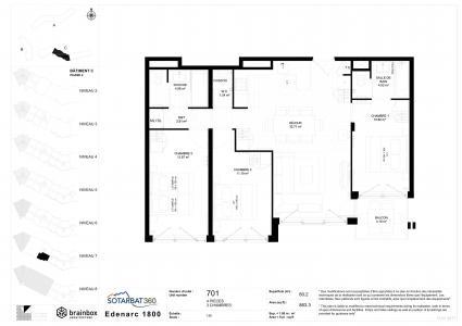 Rent in ski resort 4 room apartment 6 people (701) - Résidence les Monarques - Les Arcs - Plan
