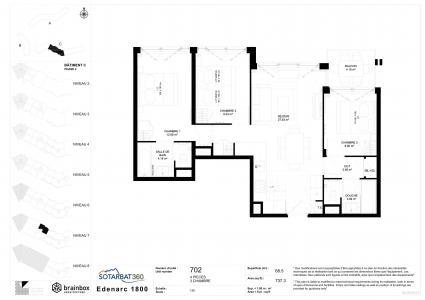 Rent in ski resort 4 room apartment 6 people (702) - Résidence les Monarques - Les Arcs - Plan