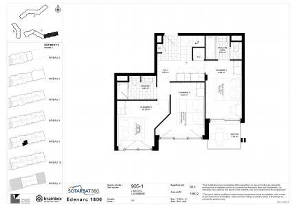 Rent in ski resort 4 room apartment 6 people (905) - Résidence les Monarques - Les Arcs - Plan