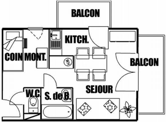 Location au ski Studio coin montagne 5 personnes (207) - Residence Cintra - Les Carroz - Plan