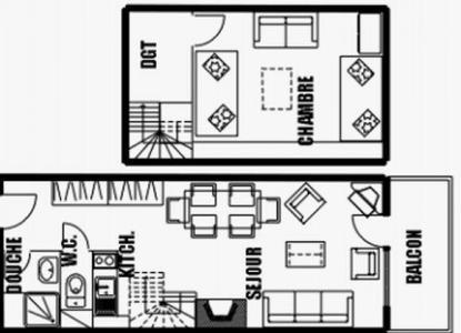 Location au ski Appartement duplex 2 pièces 6 personnes (31) - Residence Les Rhodos - Les Carroz - Plan