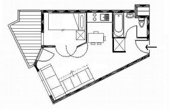 Location au ski Appartement 2 pièces 4 personnes (202) - Residence Le Median - Les Menuires