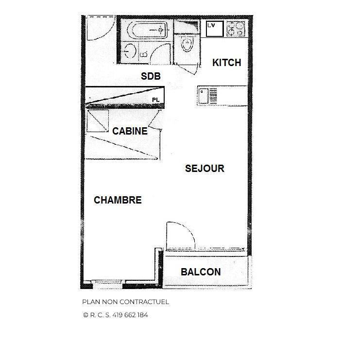 Location au ski Studio cabine 4 personnes (426) - Residence Le Villaret - Les Menuires - Chambre