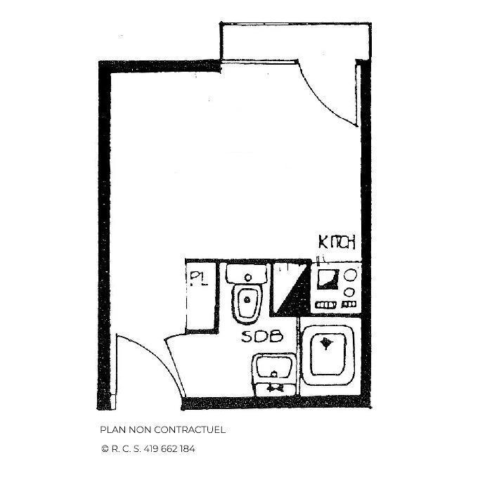 Location au ski Studio 2 personnes (106) - Residence Les Dorons - Les Menuires - Plan