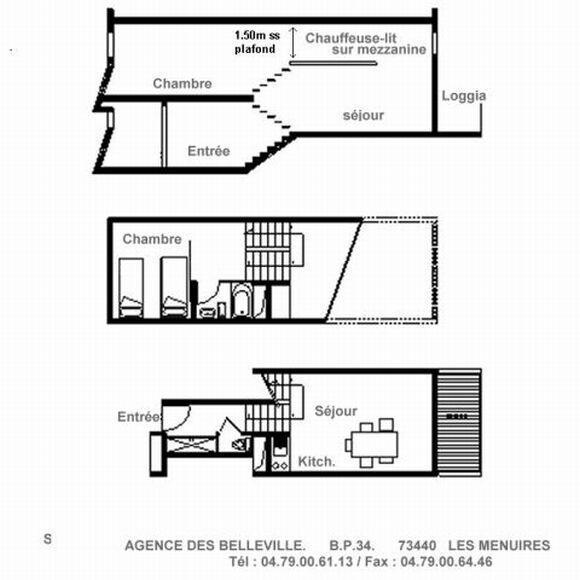 Location au ski Appartement duplex 2 pièces mezzanine 5 personnes (606) - Residence Les Evons - Les Menuires
