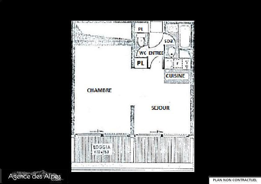 Location au ski Studio coin montagne 4 personnes (214) - Residence Tougnette - Les Menuires - Plan