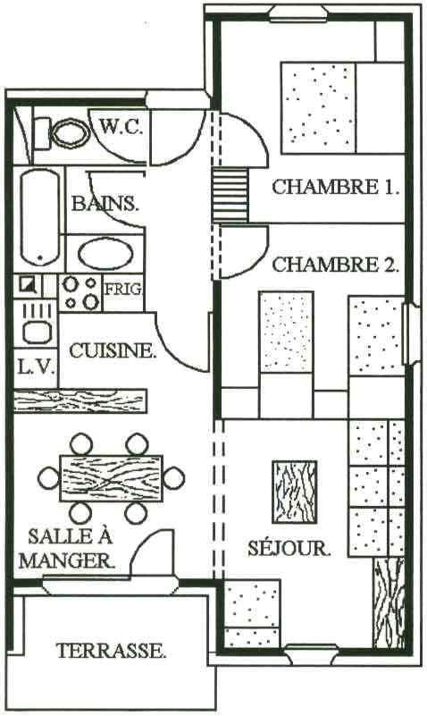Location au ski Appartement 3 pièces 6 personnes - Chalet Cristal - Les Menuires - Plan