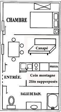 Location au ski Appartement 2 pièces coin montagne 4 personnes - Chalet le Génépi - Les Menuires - Plan