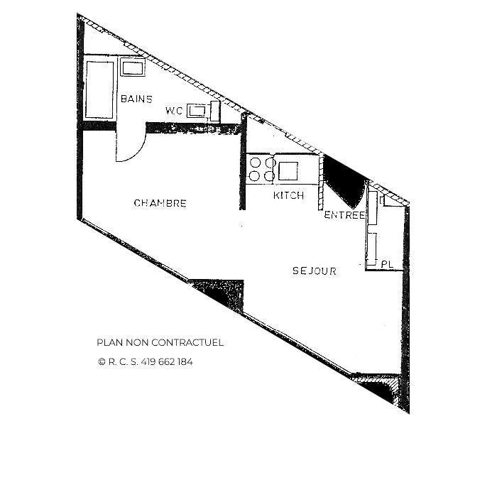 Skiverleih Studio Schlafnische 4 Personen (820) - La Résidence Caron - Les Menuires - Plan