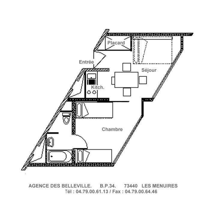 Location au ski Appartement 2 pièces 4 personnes (416) - La Résidence Grande Masse - Les Menuires - Plan