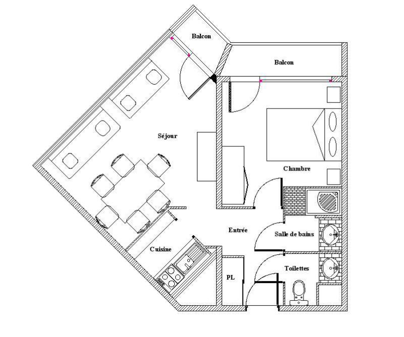 Wynajem na narty Apartament 2 pokojowy 5 osób (635) - La Résidence la Chavière - Les Menuires - Plan