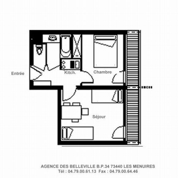 Wynajem na narty Apartament 2 pokojowy 4 osób (828) - La Résidence la Chavière - Les Menuires