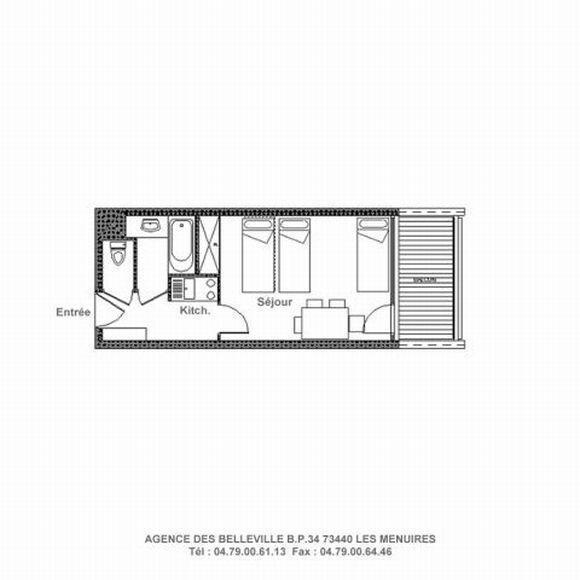 Wynajem na narty Studio 4 osoby (215) - La Résidence la Chavière - Les Menuires - Plan