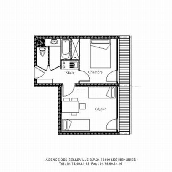 Wynajem na narty Apartament 2 pokojowy 4 osób (228) - La Résidence la Chavière - Les Menuires - Plan