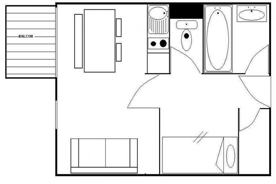 Wynajem na narty Studio kabina 4 osoby (321) - La Résidence les Gentianes - Les Menuires